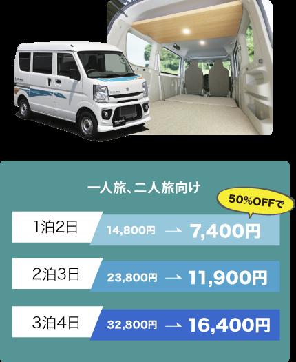 一人旅、二人旅向け。1泊2日14800円、2泊3日23,800円、3泊4日32800円。最大50%OFF